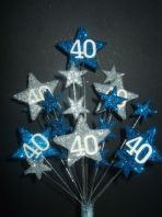 Star age 40th birthday cake topper decoration in laser and silver - free postage